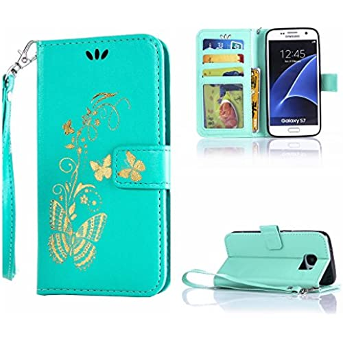 S7 case wallet,Cell Phone Case for galaxy S7,Yuncase Cover Holster Money Slot Girls Stand View Perfect Fit Samsung galaxy S7 (green) Sales