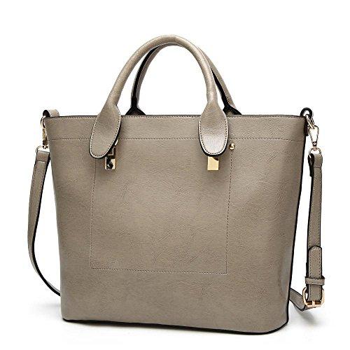 Penao Bolso de moda femenina, señora cintura hombro diagonal cruzada pack, tamaño 32cmx12cmx30cm Grey