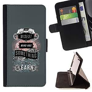 For LG G2 D800 Case , Gris Aprenda la escuela del profesor Cita texto- la tarjeta de Crédito Slots PU Funda de cuero Monedero caso cubierta de piel