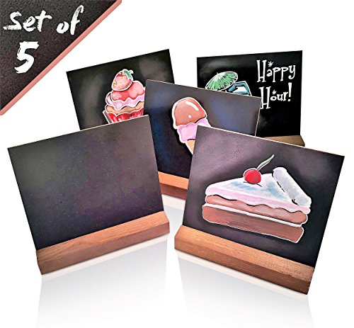 5 x 6 inch mini Chalkboard Set of 5 by DecoLife tabletop vintage rustic style removable with wooden base -