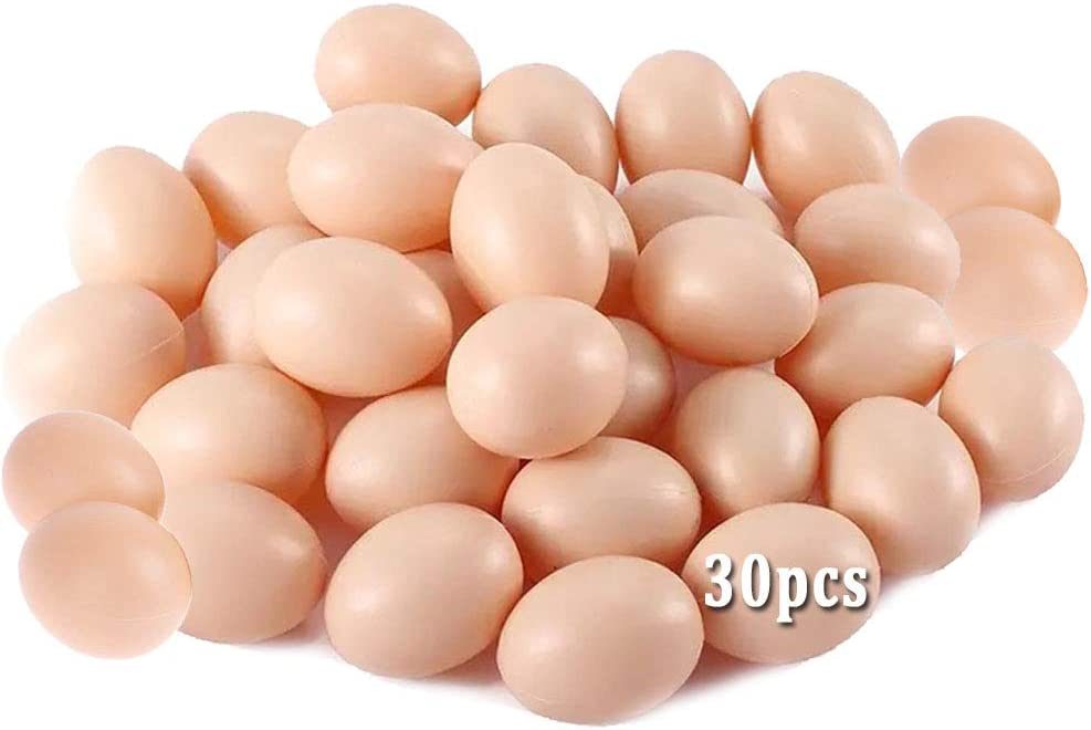 Xilanhhaa 30 Pcs Plastic Fake Eggs,Realistic Chicken Egg,Artificial Egg for Easter Egg,Painting,DIY,Home Decor,Party,Kids Toy