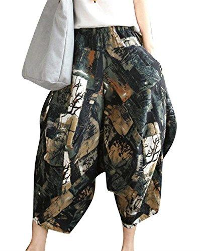 Fashion Tempo Palloncino Casual Eleganti Marca Di Estivi Vintage Stile A Hippie Sciolto Aladin Harem Pantaloni Etnico 3 Donna Mode Stampato Libero Lanterna Colour O7HqwOxTF