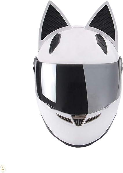 Casque de Motocross pour Femmes Oreille de Chat Suanproof Anti-Brouillard sur la Route de Course sur Route Casquettes de s/écurit/é Anti-Crash Casque de Moto de Plein air Plein Visage 23 Couleurs