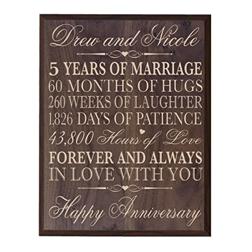 Personalized 5th Wedding Anniversary Wall Plaque Gifts for Couple, Custom Made 5th Anniversary Gifts 12'' W X 15'' H Wall Plaque By LifeSong Milestones (Grand Walnut) by LifeSong Milestones