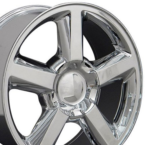 Plated Aluminum Rims Chrome (OE Wheels 20 Inch Fits Chevy Silverado Tahoe GMC Sierra Yukon Cadillac Escalade CV83 Chrome 20x8.5 Rim Hollander 5308)