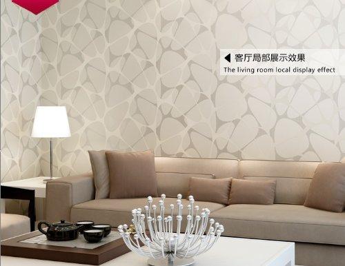 QIHANG Minimalist Non-woven Flocking Wallpaper Pearlescent Sprinkle-silver Bird Nest (Pearlescent Wallpaper)