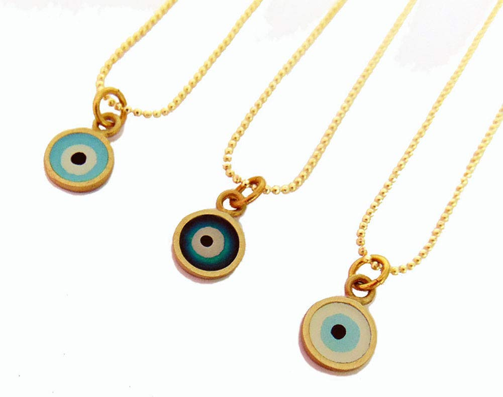 Good Luck Necklace Greek Evil Eye Protection Lucky Eye Necklace Good Vibes Necklace Gold Evil Eye Necklace Evil Eye Pendant