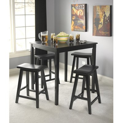 Target Marketing Systems Counter Height Belfast Table with Apron Trimmed Edges and Shaker Shaped Legs, Black by TMS
