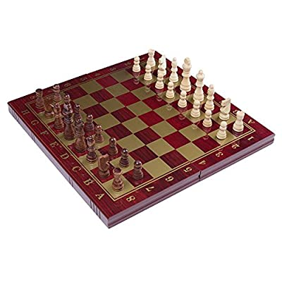 RUNNOW 3 in 1 Chess Checkers Backgammon Wooden Chessboard