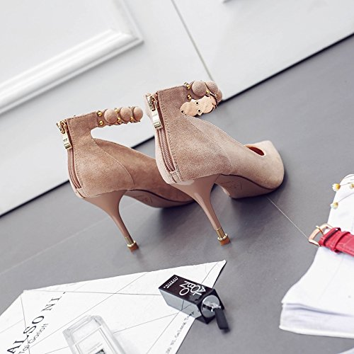 37 Suede Match Work Shoes Buckle Lady The With Elegant 9Cm A MDRW Leisure Shoes Beige High Point All Spring Fashion Word Fine Heeled EwCzBqWx01