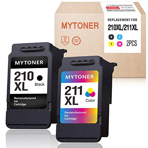 Mytoner Remanufactured Ink Cartridge Replacement for Canon PG-210XL CL-211XL 210 XL 211 XL Ink for PIXMA IP2702 IP2700 MX410 MP495 MP230 MP240 MP280 MX320 MX340 MX350 MX360 Printer (Black, Tri-Color)
