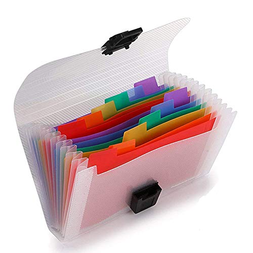 (13 Pockets Accordion File Organizer - A6 Plastic Wallet for Receipt, Coupons, Cards, Mini Expandable Portable Small Folder(7X4.1)