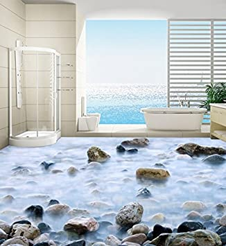 Yosot Tapete 3D Kopfsteinpflaster Badezimmer Schlafzimmer, 3D Fliesen  Wasserdicht Selbstklebende 3D Bodenbelag Wandbild 200cmx140cm
