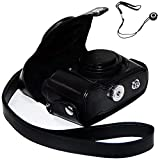 First2savvv XJPT-P7800-01G14 black full body Precise Fit PU leather digital camera case bag cover with shoulder strap for Nikon Coolpix P7700 P7800 + anti lost rope