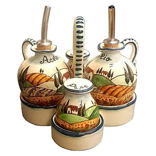 (CERAMICHE D'ARTE PARRINI - Italian Ceramic Art Pottery Set Cruet Oil Vinegar Salt Pepper Decorated Poppies Landscape Tuscan Hand Painted Made in ITALY)