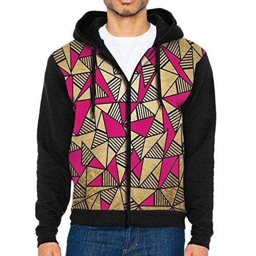 Joapron Glam Faux Gold, Black, and Pink Striped Men's Zipper Splicing Overcoat Belt Hat and Pocket XL