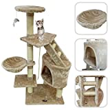 Cat tree with beige scratching post – Scratching post made of natural sisal