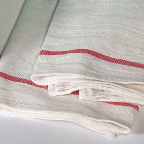 12 NEW HERRINGBONE NON TERRY TOWELS LINT FREE RED STRIPE 100