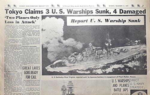 (1941 - Dec 8 - Chicago Herald-American - Tokyo Claims 3 US Warships Sunk, 4 Damaged - Vintage - Rare - OOP)
