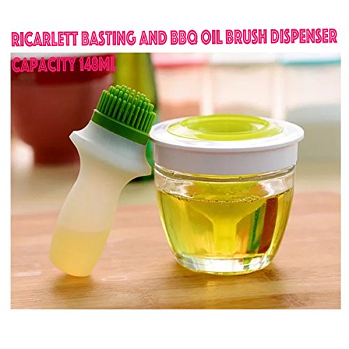 ricarlett%5 3-in-1 Silicone Oil Basting Brush Set Chef's Basting Tool Olive oil, Vinegar, Salad Dressing Dispenser by ricarlett%5