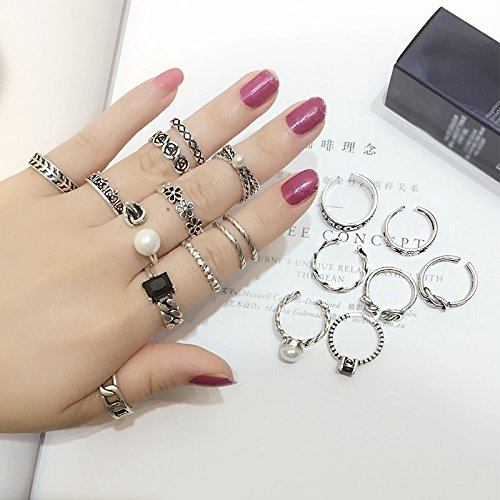 Generic The new Thai silver retro ring ring opening Korean combination packages tail ring joints Beautiful child couple rings