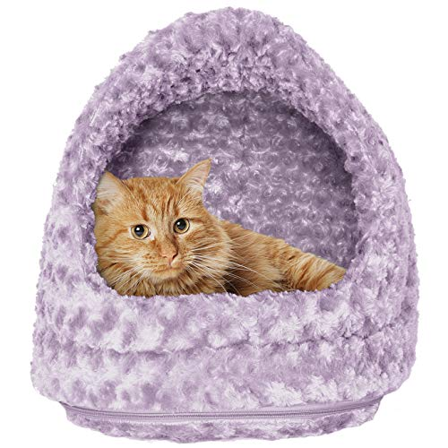 FurHaven Pet Hood Bed | Ultra Plush Hood Pet Bed for Dogs & Cats, Lavender, -