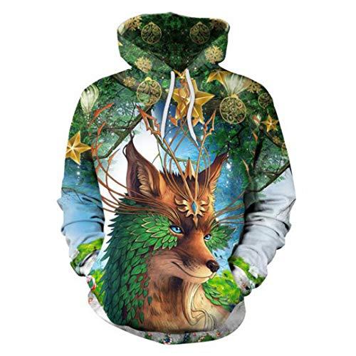 (Harajuku Kawaii Clothes 3D Print Animal Fox Hoodies Pullovers Hat Sweatshirts Fox 3D Hoody XXL)