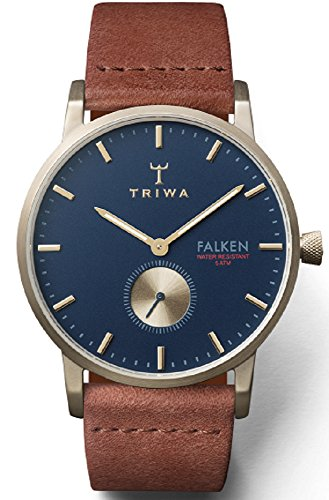 Triwa Loch Falken Unisex Analog Brushed Gold Watch Blue Dial Brown Strap FAST104 CL010217