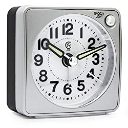 JCC Mini Travel Analog Alarm Clock, Non-Ticking-Battery Operated, Quartz Clock with 5 min Snooze- Loud Ascending Sound- Alarm Clocks with Night Light for Traveling, Backpacking (Silver - Round Dial)