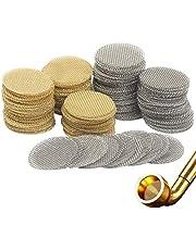 Roestvrij stalen pijpfilter, SEELOK 200 stks Roken Pijpgaas Scherm Fijne Mesh Filter voor Tabak Gaas Shisha E-sigaretten Gaas (Goud en Zilver)