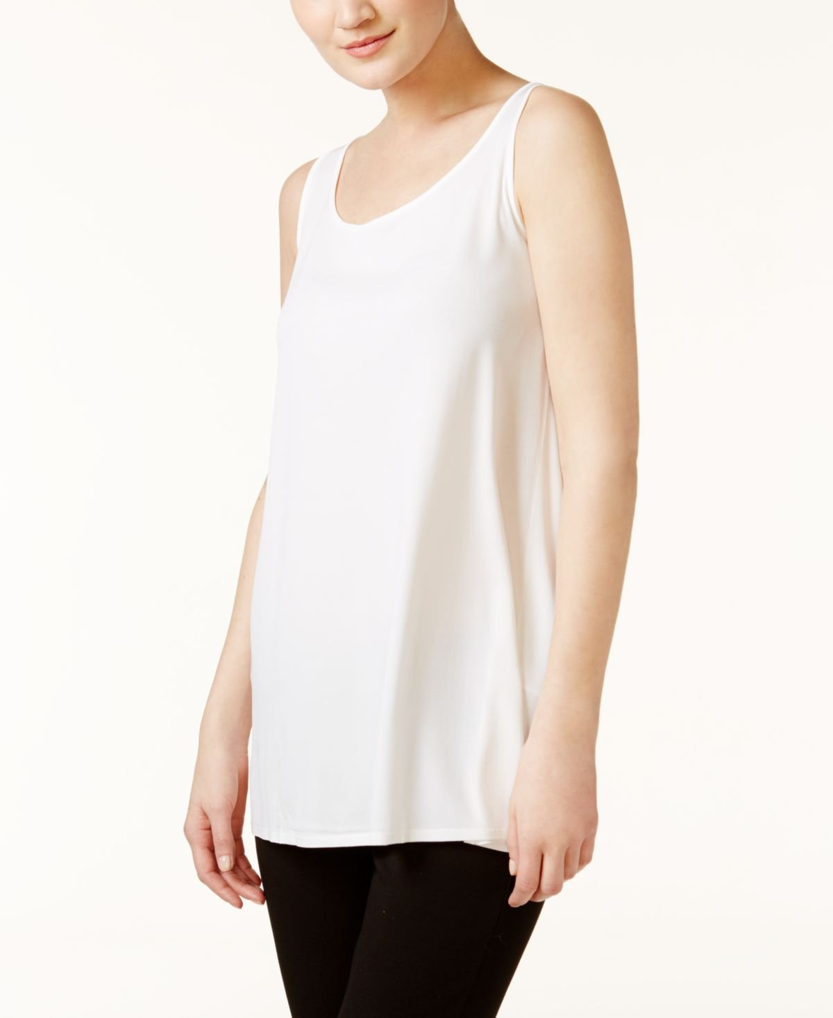 Eileen Fisher Scoop Neck Long Tunic in Stretch Silk Jersey