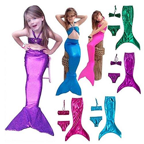 3pcs/traje princesa Ariel sirenita cola vestido infantil disfraz ...