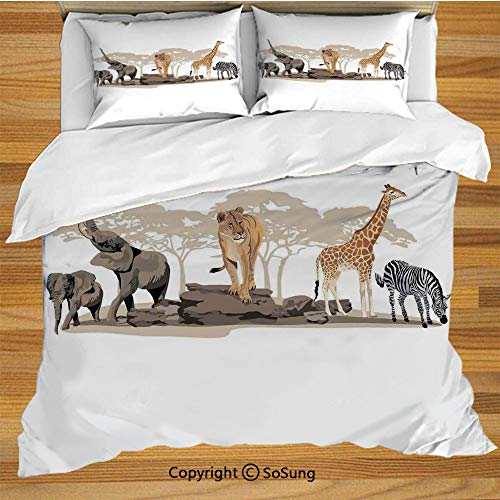 Safari King Size Bedding Duvet Cover Set,Illustration of Wild Savannahs African Animals Exotic Giraffe Lion Elephant Zebra Decorative 3 Piece Bedding Set with 2 Pillow Shams,Multicolor