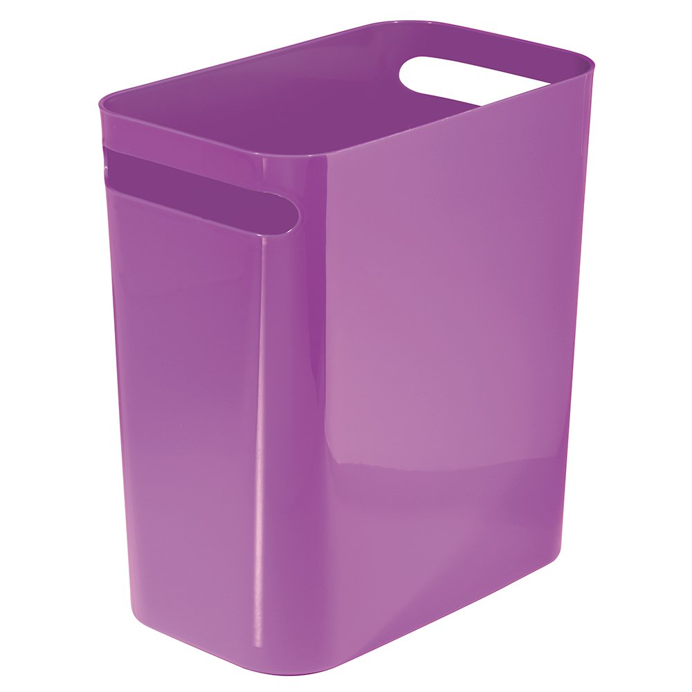 mDesign Slim Rectangular Small Trash Can Wastebasket, Garbage Container Bin with Handles for Bathrooms, Kitchens, Home Offices, Dorms, Kids Rooms — 12 inch high, Shatter-Resistant Plastic, Purple