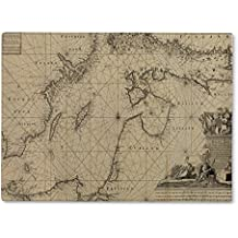 Gear New Glass Cutting Board and Serving Dish, Baltic Sea Old Map, also makes great accent decor piece, 11x8, 2081957GN