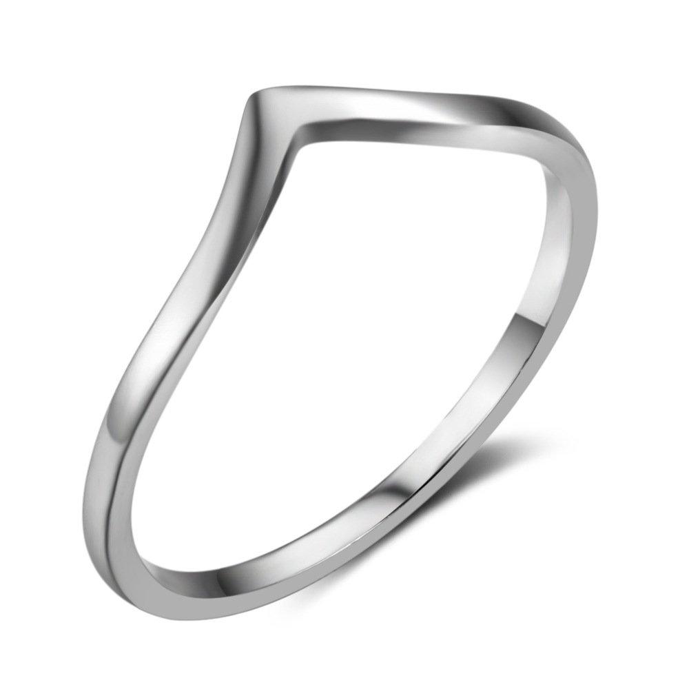LicLiz 925 Sliver Chevron V Shape Stacking Ring Size 6-8 Women