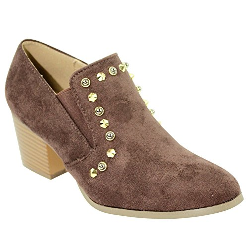 - Top Brown Caged Faux Suede Fringe Bootie Gold Studded Slip On Pointed Comfortable Cute Sexy Fashion Walking Short Cowboy Camel Ladies Women Dress Pumps Shoe Teen Girl (Size 8, Brown)
