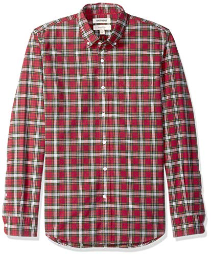 - Goodthreads Men's Slim-Fit Long-Sleeve Plaid Oxford Shirt, red/Green, Large