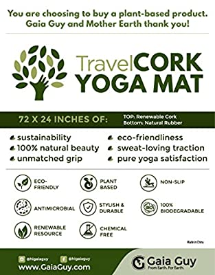 "Travel Cork Yoga Mat + Natural Rubber - 72"" x 24"" x 3mm (4.1lbs) - Portable, Light, Ultimate Non-slip Yoga Mats"