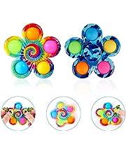 LONEA 2 Pack Fidget Spinner Pop Its Toys , Party Favor Sensory Fidget Pack ToysTie-Dye Push Pop Pop Bubble Simple Dimple Spinner Set, Stress Relief for Kids