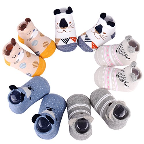 Dicry 5 Pairs Newborn 3D Ears Cartoon Animal Anti Slip Cotton Baby Toddler Socks (0-6 Months, A-Pairs of 5)