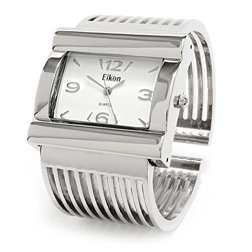 Silver Grill Band Large Face Women's Wide Bangle Cuff (Face Bangle Fashion Watch)