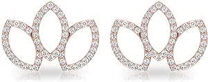 0.39 Carat Pave IGI Certified Diamond Open Petal Stud Earring, Marquise Shaped Olive Leaf Cartilage Earrings, Women Birthday Daily Wear Earrings Gifts, Screw Back