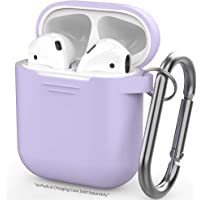 Airpods Case, AIKER Protective Airpods Cover Soft Silicone Chargeable Headphone Case with Anti-Lost Carabiner for Apple Airpods Charging Case (Purple)