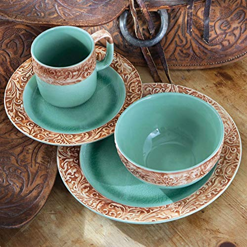 Black Forest Décor Western Scroll Turquoise Dinnerware Set - 16 pcs ()