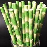 Vanvler Paper Straws 25 pcs Bamboo Pattern Decoration Straw Wedding Party Supplies (B)