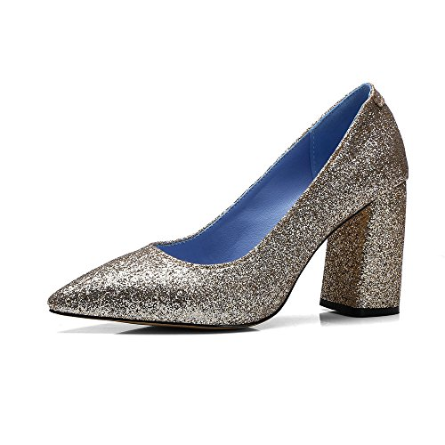Square AIWEIYi toe Pointed Pumps High Women Heels Dress Shoes Glitter Gold TXXpqUBr