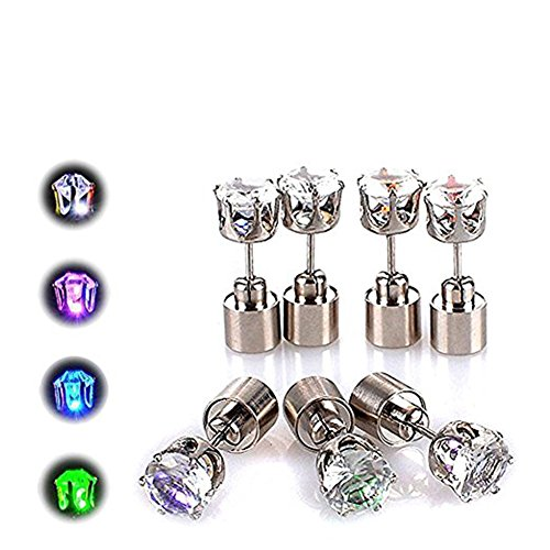 Rely2016 5 Pairs Diamond Shaped LED Flashing Earrings Blinking Ear Studs Bar Party Fashion Supplies for Women & Men, Color - Finding Out Shape Your Face