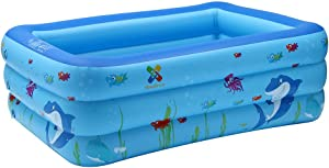 Voberry Swimming Pools, Kids Inflatable Swimming Blow Up Pool, Kids Inflatable Swimming Pool, Blow Up Pool for Family Adult and Toddler, Baby Square Pool Play Center Pattern on Floor (Blue, L)