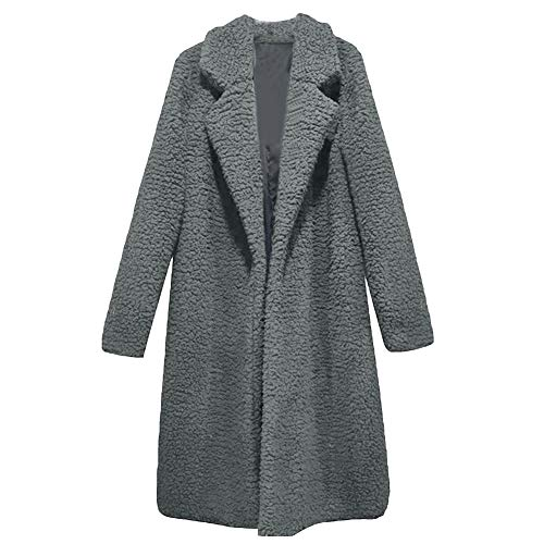 Dasior Women's Solid Lapel Open Front Warm Lamb Cashmere Coat Fuzzy Cardigan Overcoat 3XL Steel Grey